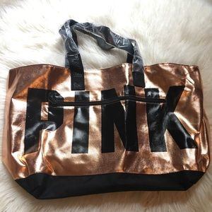 Pink Victoria's Secret rose gold tote bag NWOT